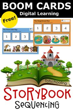 FREE Boom digital cards for PreK and Kindergarten kids, featuring fairy tales and nursery rhymes. These are sequencing activities that helps with language and speech development as well as comprehension skills. Perfect for distance or remote learning! Sequencing Activities, Speech Therapy Activities, Classroom Activities, Sequencing Cards, Preschool Language Activities, Educational Activities, Learning Resources, Kids Learning, Apps