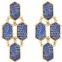 Kara Ross: signature hexagon four-piece gold earrings with metallic blue lizard