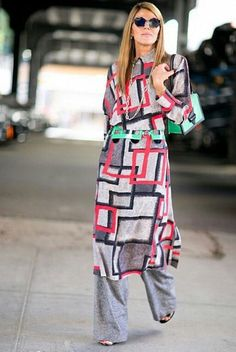 geometric dress over pants
