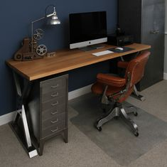 https://flic.kr/p/22ion9u | Industrial Desk with an oak top and a vintage DoMore office chair | Industrial Steel and Oak Desk with a Vintage Do'More Office Chair
