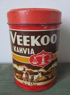 Veekoo kahvia purkit, kaikki Coffee Tin, Good Old Times, Fun World, Old Ads, Product Design, Old Things, Canning, Retro, Tins
