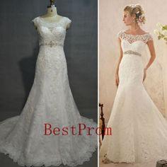2014 wedding dress lace wedding dress/lace fishtail wedding dress/ mermaid style wedding dress on Etsy, $208.00
