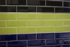 Metro lime, black and navy wall tiles size  300 x 100mm from www.tilemountain.co.uk
