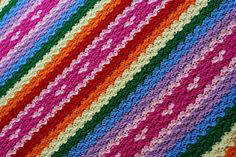 Rainbows and Hearts Blanket - free crochet pattern