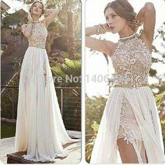 Blanco romántico vestido de fiesta 2014 alto bajo lace ocasión especial vestido de cuello alto con cuentas vestido de fiesta de gasa