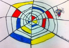 Art: Expression of Imagination: Mondrian Spider Web Halloween Art Projects, Fall Art Projects, Theme Halloween, School Art Projects, Kindergarten Art Lessons, Art Lessons Elementary, Piet Mondrian, Spider Art, Spider Webs
