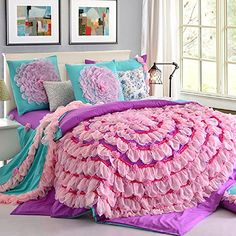 FADFAY Home Textile,Luxury Beautiful Wedding Bedding Set,Korean Designer Princess Bedding Set,Girls Purple Pink Lace Ruffle Bedding Set Queen Tween Bedding Sets, Tween Beds, Teen Girl Bedding, Daybed Bedding, Lace Bedding, King Comforter, Comforter Sets, Queen Size Bed Sets, King Size