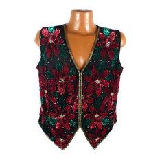 Ugly Christmas Sweater Vintage Poinsettias Scala Vest Sequin XL