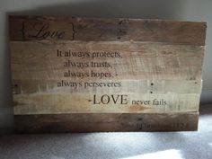 Reclaimed wood sign Love Bible Verse by ktenkreations on Etsy