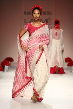 soumrita mondal lfw ss 13 pink white saree