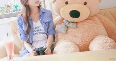 Imagen de cute, girl, and bear