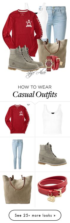 """""""Casual"""" by alice-fortuna on Polyvore featuring Frame Denim, Independent Reign, Timberland, Valentino and Marc by Marc Jacobs"""