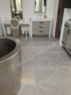 """French limestone flooring in Limeyrat, also known as """"Slab from France"""" or Dalle de France. Stone Interior, Interior And Exterior, 2nd Floor, Tile Floor, Limestone Flooring, Stair Steps, Rug, Paving Stones, Tutorial"""
