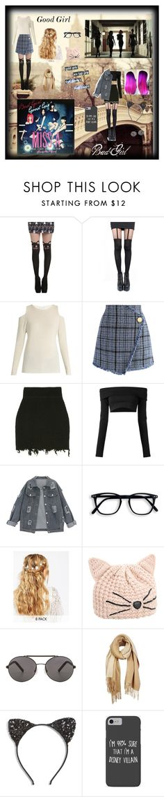 """""""Bad Girl, Good Girl - Miss A"""" by bulletproof-wolfie on Polyvore featuring Pretty Polly, Velvet by Graham & Spencer, Chicwish, Puma, ASOS, Karl Lagerfeld, Seafolly, Unpaired, Cara and Disney"""