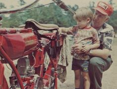 """""""My grandfather helping me polish a 1917 model when I was three."""" Thomas M. - Indian Motorcycle Rider"""