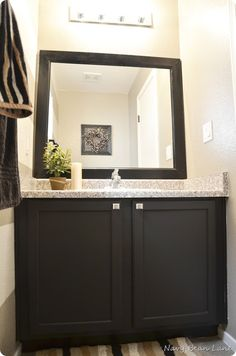 Navy Bean Lane: Black Bathroom & Laundry Room Cabinets Before & After Painting Bathroom Cabinets, Laundry Room Cabinets, Laundry Room Bathroom, Kitchen Cabinets In Bathroom, Kitchen Paint, Bathroom Furniture, Master Bathroom, Paint Bathroom, Kitchen Cabinetry