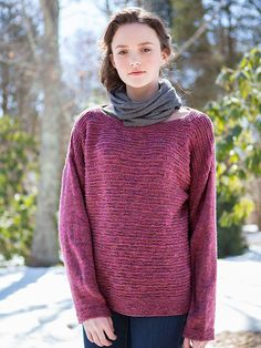 Aroostook is a slightly oversized, boxy pullover featuring a textured knit and purl pattern stitch.  This free pattern is available exclusively as a print-friendly PDF file - it's easy to read and requires less paper when printed. To download the pattern, just click the PDF link above. Trouble getting the PDF? Make sure you've downloaded the latest version of the freeAdobe Reader software.