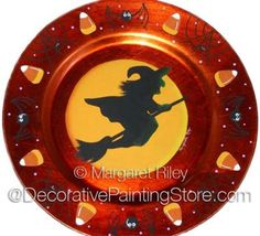 The Decorative Painting Store: Halloween Witch Plate Charger Pattern BY DOWNLOAD, Newly Added Painting Patterns / e-Patterns