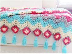Manta o Afgano Primavera en Crochet con paso a paso grátis Diy, Blanket, Patterns, Color Coordination, Free Pattern, Bed Covers, Step By Step, Spring, Manualidades