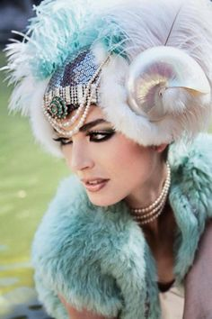 Feathers, sequins, fur, and shells.