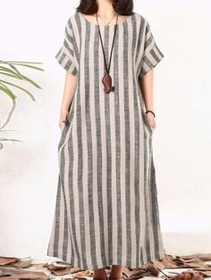 Plus Size Women Gray Shift Daytime Cotton Short Sleeve Striped Linen Dresses sum. - Women's style: Patterns of sustainability Baggy Dresses, Linen Dresses, Casual Dresses For Women, Women's Dresses, Dress Outfits, Short Sleeve Dresses, Elegant Dresses, Short Sleeves, Dress Casual