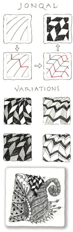 Jonqal. Official Zentangle with variations and example.