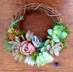 """S 6.5"""" Succulent Wreath- so adorable! by Fairyblooms on Etsy https://www.etsy.com/listing/189704453/s-65-succulent-wreath-ava-wreath"""