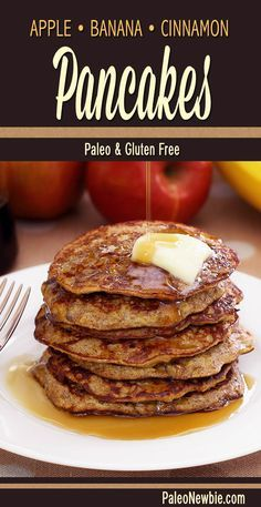 Easy, no-flour pancake recipe with the fresh taste of fall in every bite. Top with raw maple syrup or fresh fruit. #paleo #glutenfree
