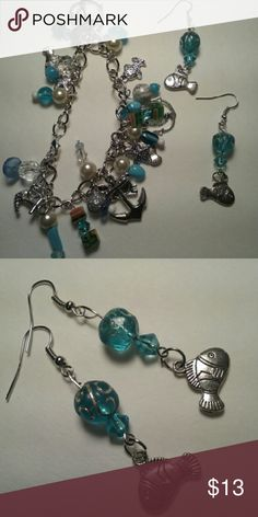 """NEW earrings blue silver fish So cute, bracelet also available,  1.5"""" without hook. Glass beads. Jewelry Earrings"""