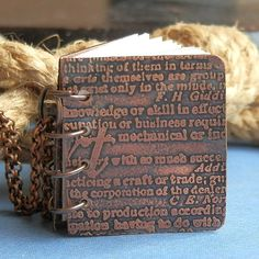 OLD SCRIPT etched copper journal book necklace by CoolVintage