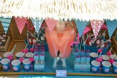 Drink station at a Flamingo Pool Party #flamingo #poolpartydrinks