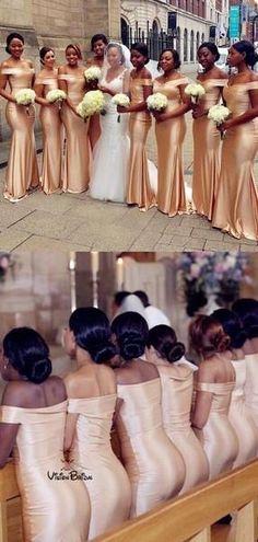 Floor-Length Light Champagne Bridesmaid Dresses, Long Bridesmaid Dresses For Wedding - Bridesmaid dresses Bridesmaid Dresses Long Champagne, Printed Bridesmaid Dresses, Mermaid Bridesmaid Dresses, Best Wedding Dresses, Mermaid Dresses, Wedding Bridesmaids, Wedding Gowns, Wedding Venues, Sparkly Bridesmaids