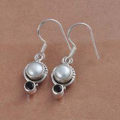 925 SOLID STERLING SILVER PEARL & SMOKEY CUT EARRING 4.24g DJER1448 #Handmade #Earring