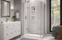 The URBANO II by MAAX is a rectangular corner shower kit that is perfectly designed to suite today's trends. With its elegant chrome details and clean, straight lines this frameless shower kit will give your bathroom a delightfully light and airy feel. Bathroom Renos, Basement Bathroom, Bathroom Ideas, Bath Ideas, Light Bathroom, Bathroom Pics, Bathroom Showers, Bathroom Inspiration, Frameless Shower