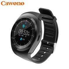 Better Price $17.98, Buy Cawono Bluetooth Smartwatch Y1 Smart Watch Reloj Relogios 2G GSM SIM App Sync Mp3 for Apple iPhone Xiaomi Android Phones Black