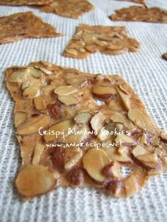 Almond Cookies, Almond Thins, Very Thin Crispy Almond Cookies recipe, Thin Cookies recipe Crispy Almond Cookies Recipe, Cookie Thins Recipe, Almond Thins Recipe, Almond Crunch Recipe, Crispy Cookies, Bolacha Cookies, Galletas Cookies, Just Desserts, Dessert Recipes