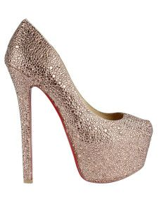 Champagne Almond Toe Rhinestone Sheepskin Suede Woman's High Heels