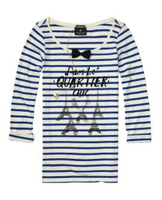 French Theme Long-Sleeved Tee With Mini Bow Tie - Scotch & Soda