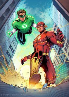 Hal Jordan Green Lantern and Barry Allen Flash by: 小红帽Rico on lofter.com