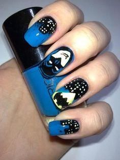 Retro batman nails for the win! Nail Polish Designs, Cute Nail Designs, Batman Nail Art, Cute Nails, Pretty Nails, Mani Pedi, Manicure, Nailart, 31 Day Challenge