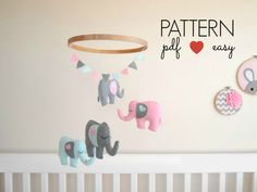 DIY Baby Mobile Felt Elephant Sewing Pattern - Ornament - Favors - Cake topper - Nursery Mobile - DIY - Plush - Softie -