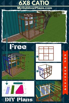 I have designed free plans for you to build this cute garden shed with a hip roof. Diy Cat Enclosure, Outdoor Cat Enclosure, Reptile Enclosure, Cage Chat, Cat House Plans, Cat Cages, Cat Playground, Door Shelves, Cat Room