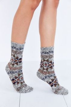 Blanket-Pattern Ankle Sock