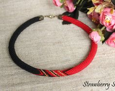 """Bead Crochet Necklace """"Black and Red"""""""