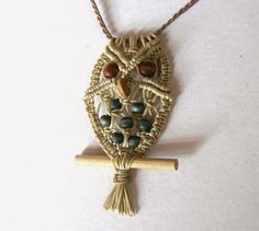 Basic macrame owl pendant tutorial. I think a small twig of driftwood would be attractive for his 'perch'.