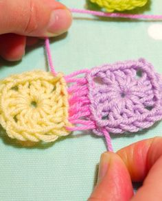 Invisible stitch to join crochet blocks tutorial, plus tiny block pattern