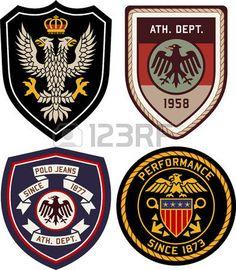 Illustration of royal classic heraldic emblem badge shield vector art, clipart and stock vectors. Badge Design, Logo Design, Graphic Design, Jeans Polo, Symbol Logo, Crests, Fashion Graphic, Logo Branding, Stickers