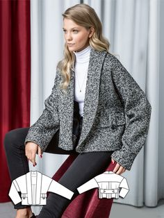 Luxurious elements like the shawl collar, flap pockets and a wide reach latch are particularly beautiful on this short boucle jacket. Burda Patterns, Easy Sewing Patterns, Vogue Patterns, Vintage Patterns, Jumpsuit Pattern, Jacket Pattern, Make Your Own Clothes, Boucle Jacket, Sewing Blogs