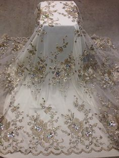 """White Mesh w Gold Floral Embroidery Multi Rhinestone Lace Fabric 50"""" Wide 1 Yd 