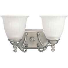 nice Progress Lighting P2730 Renovations Two-Light Bathroom Fixture with Etched Glass,